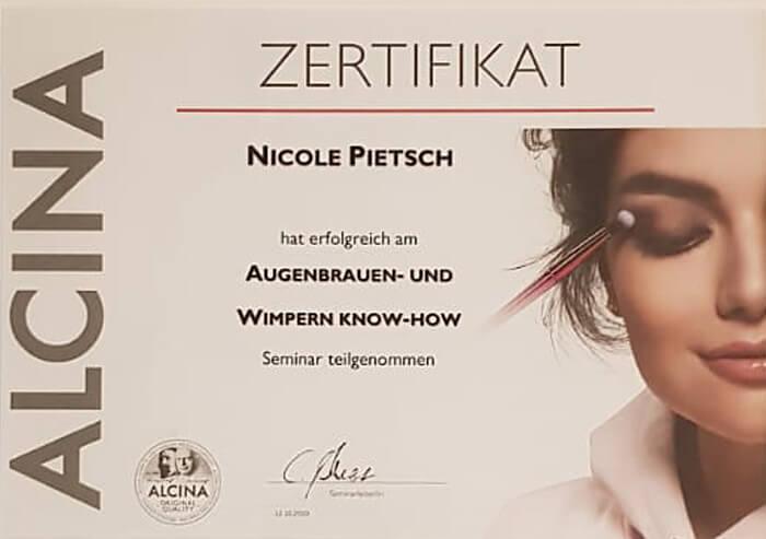 Zertifikat Augenbrauen & Wimpern | Friseurstudio AtmospHair