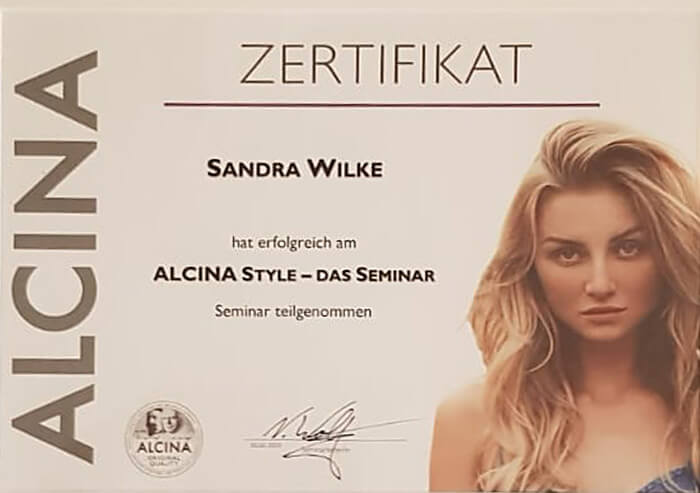 Zertifikat Alcina Style | Friseurstudio AtmospHair